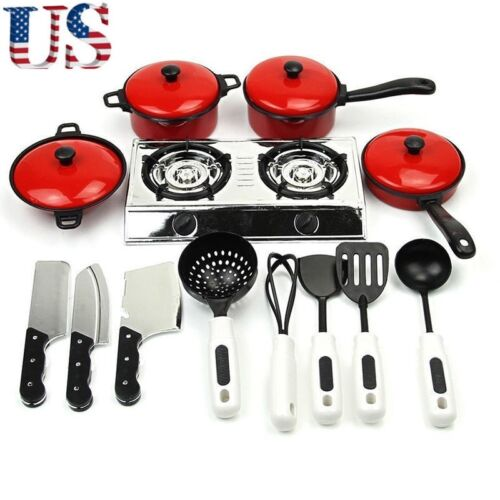 Kids Play House Toy Cooking Food Kitchen Utensils Pans Pots