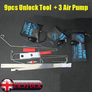 9Pcs Car Door Key Lost Lock Out Emergency Open Unlock Tool Kit w/ 3 Air Pump New