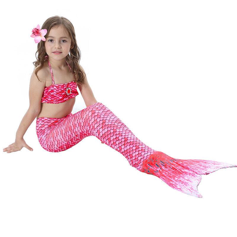 Kinder Meerjungfrau Kostüm Mädchen Bademode Badeanzug Cosplay Sommer Bikini Set Rosa