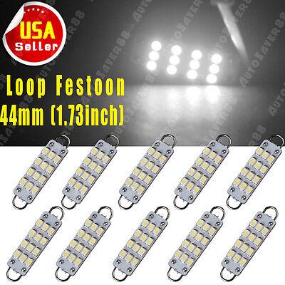 Rigid Loop Light Bulb (10x 6000K White Festoon 44mm 12-SMD Rigid Loop LED Dome Door Interior Light)