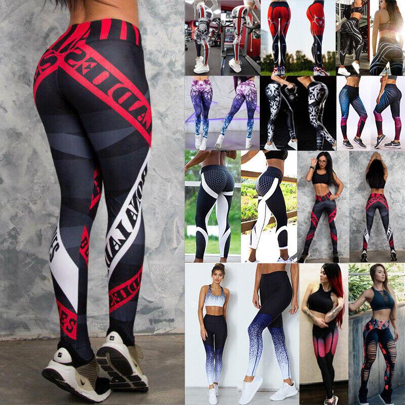 Damen Leggings Stripe Sport Yoga Fitness Leggins Legging Jogginghose Hose SMLXL