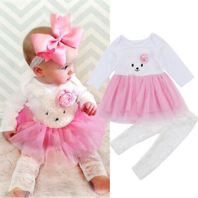 Boutique Newborn Kids Baby Girls Bunny Lace Dress Top Pants Outfits Clothes US