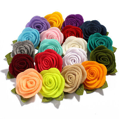 Nonwovens Fabric Rolled Rose Hair Flowers with leaves For Headbands 4.5cm 30pcs