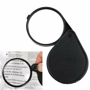 Loupe/ magnify Glass 10x big 60mm wide glass folds in case new