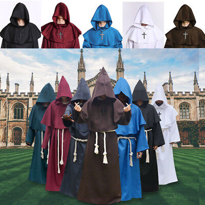 Medieval Monk Cowl Robe Set Wizard Friar Priest Halloween Fancy Cosplay Costume (Halloween Wizard Costumes)