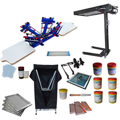 4 Color Screen Printing Kit Press Printer With Uv Exposure Unit Flash Dryer