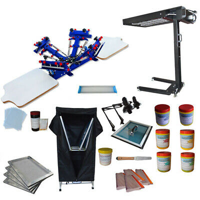 4 Color Screen Printing Kit Press Printer With Uv Exposure Unit Flash Dryer