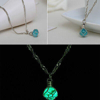 Fashion Green&Blue Luminous Crystal Ball Creative Glow In The Dark Necklace (Blue Glow In The Dark)