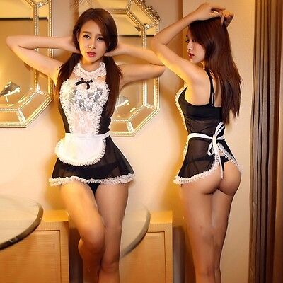 women lace French house maid Cosplay underwear translucent dress erotic Lingerie](Erotic French Maids)
