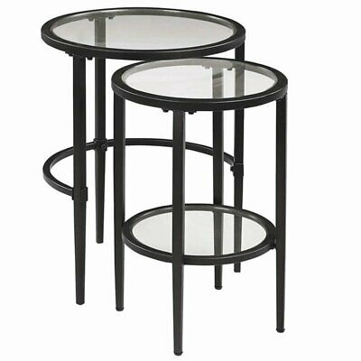 Coaster 2 Piece Glass Nesting End Table Set in Matte Black