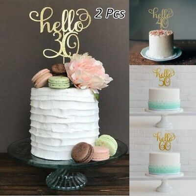 2 Pc Gold Happy 30th/40/50/60 Wedding/Birthday/Party Cake Topper Cake Decoration (50 Cake)