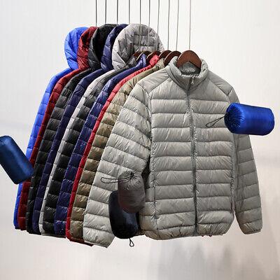 US Men's Lightweight 90% White Duck Down Coat Winter Jacket Hooded Puffer Tops