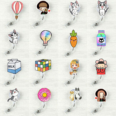 1x Cartoon Retractable ID Name Badge Reel Pull Clip Key Card Holder Office Nurse](Name Card Holder)