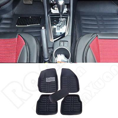 US Leather 5pcs Car Floor Mats FrontRear Black All Weather Interior Mat Carpet