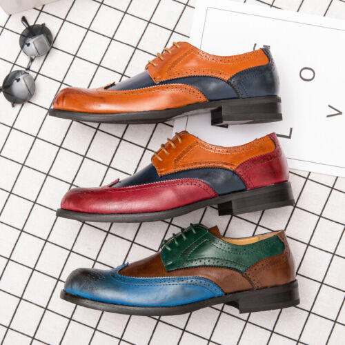 Details about  /Brogue Men Dress Formal Business Faux Leather Shoes Wing Tip Carved Pointy Toe L