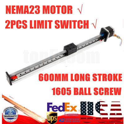 Cnc Linear Actuator Rail Guide Slide Sliding Block Ball Screw 600mmnema23 Motor