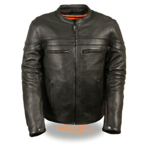 Mens Leather Sporty  Crossover Jacket Concealed Carry cowhide