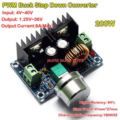 200w 8a Dc-dc 5v-40v To 1.2-36v Buck Converter Adjustable Step Down Power Module