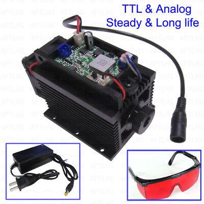 Ttl Analog 450nm 445nm 12w 12000mw Focusable Blue Laser Module Engraving Metal