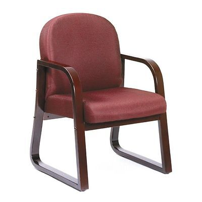 Mahogany Frame Side Guest Office Chair With Burgundy Upholstery
