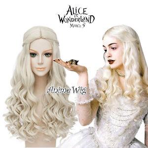 Alice in Wonderland 2 White Queen Light Blonde 65cm Curly Cosplay Wig + Free Cap