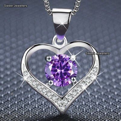 WOMENS JEWELLERY Romantic Gifts For Her Purple Crystal Heart Necklace Xmas Wife ()
