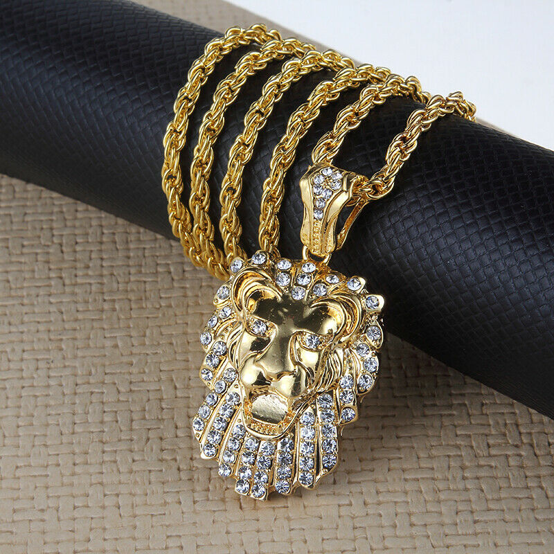 """Hip Hop Gold Plated Rhinestone 50 CENT Pendant Unisex Necklace 29/"""" Chain Jewelry"""