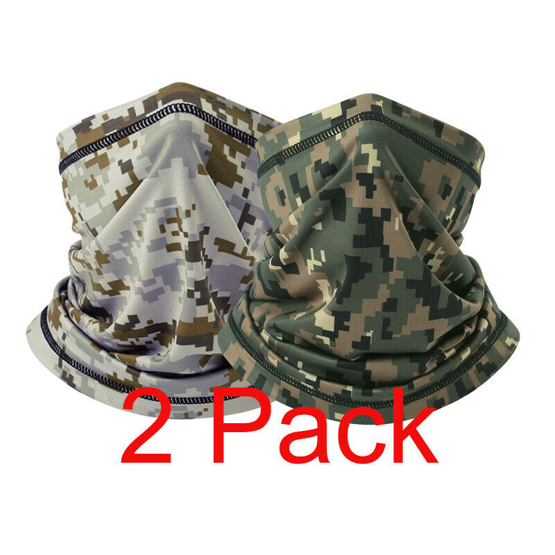 2Pack Lycra Camo Quick Dry Neck Gaiter Half Face Mask for Su