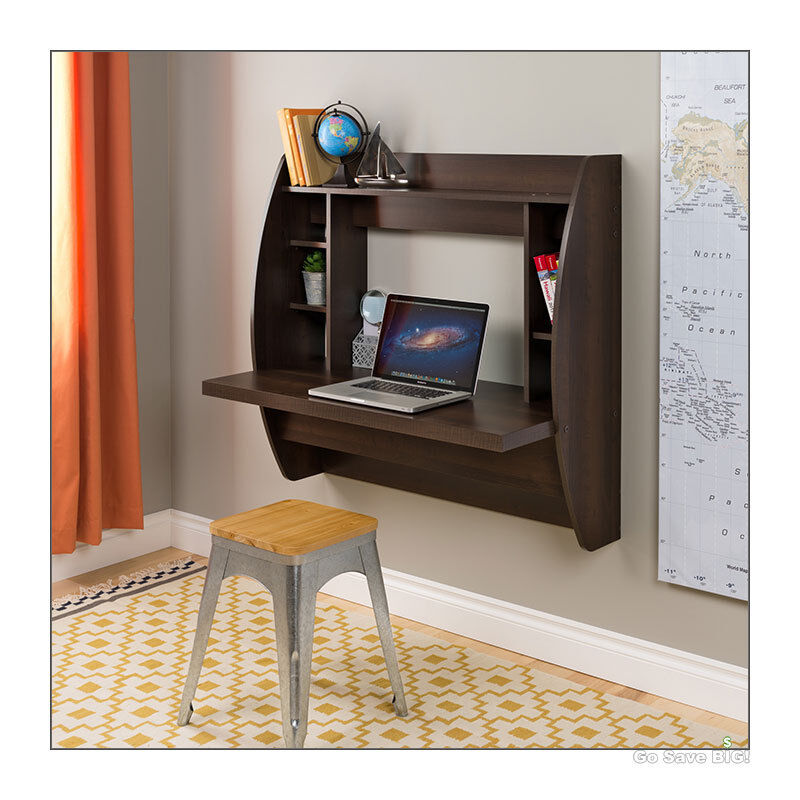 computer desk floating wall mount shelves home office