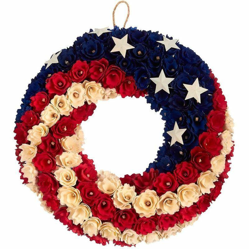 4th of July American Flag Décor Floral Door Wreath, Outdoor Indoor (14 in)