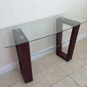 Glass top wall or sofa table