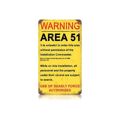 Area 51 Unlawful Entry Deadly Force Warning Alien Ufo Tin Metal Steel Sign 8X14