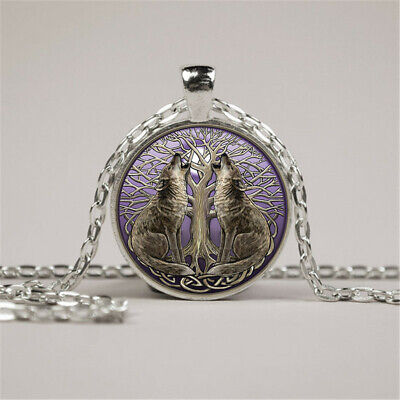 Vintage Wolf Tree Moon Photo Cabochon Glass Silver Chain Pendant Necklace