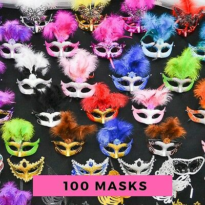Prom Masquerade Masks (100PC Lot Wholesale Bulk Mardi Gras Masks Masquerade Costume Wedding Party)