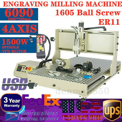 1500w Usb 4axis 6090 Cnc Router Engraver 3d Engraving Carving Cutting Machinerc