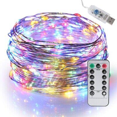 USB Twinkle LED String Fairy Lights 5/10M 50/100LEDs Copper Wire Party w/ Remote ()