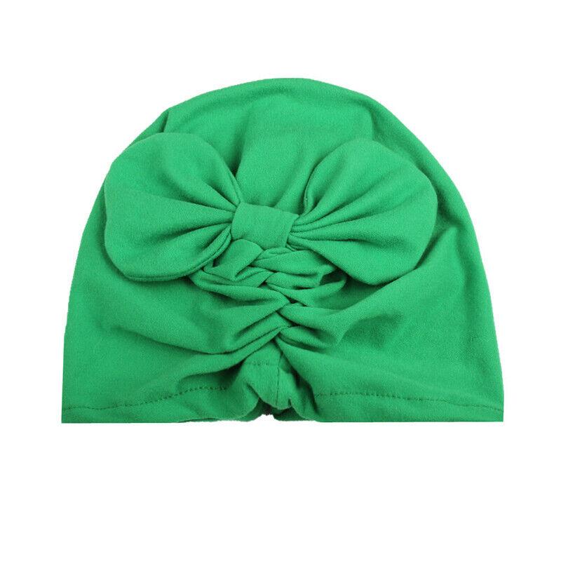 Newborn Baby Girl Infant Child Solid Headwear Bow Cap Hospital Beanie Indian Hat