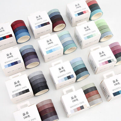 5Pcs/set Kawaii Fall Decorative Paper Green Pink Purple Washi Tape Set Stickers - Fall Washi Tape