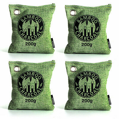 Kmise Air Purifying Bag Bamboo Charcoal Bag Freshener Odor Deodorizer 4 x 200g