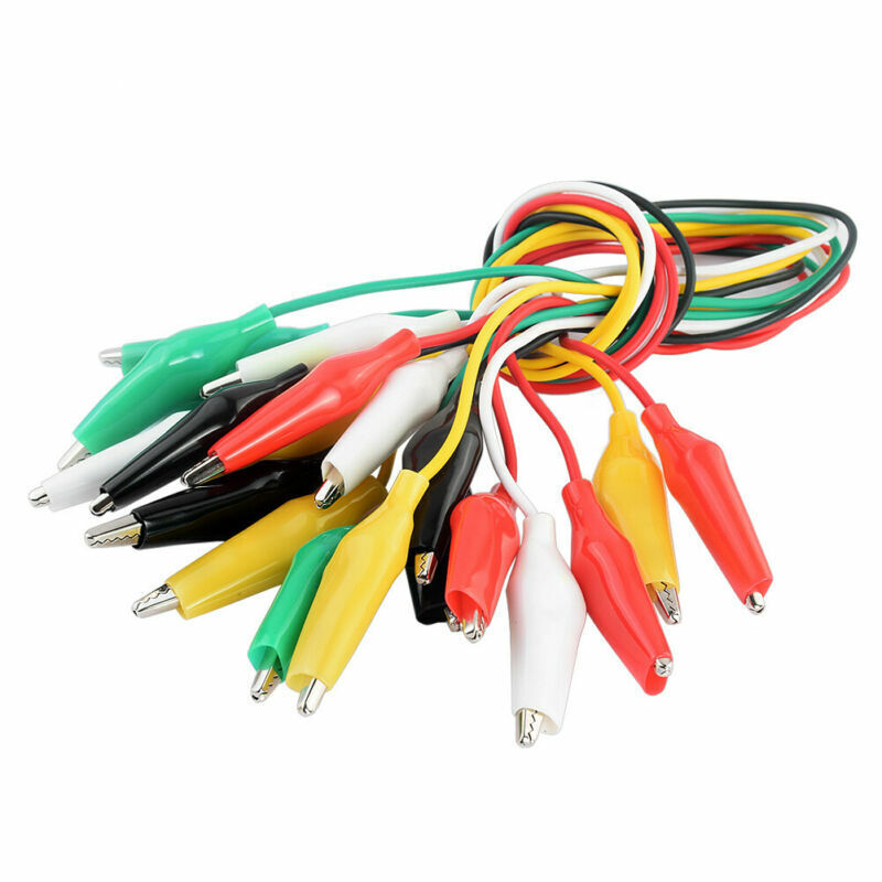 10Pcs 5 Color Mixed Test Leads With Roach Alligator Clips Circuit Jumper Wire 0