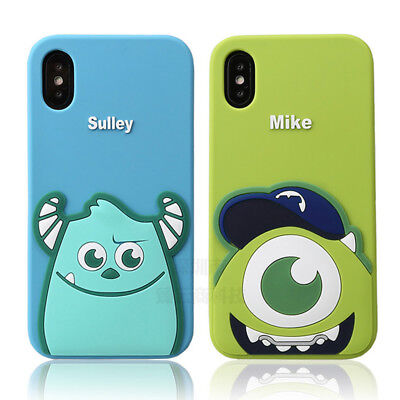 For iPhone Xs Max X 8 Sulley Mike Wazowski Silica Gel Soft Shockproof Phone Case](Sulley X Mike)
