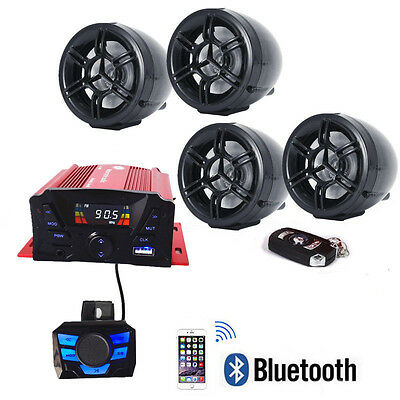 Anti Theft Utv Atv Speakers Usb Audio System Stereo Bluetooth Motor Remote