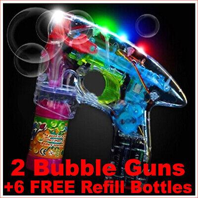 Flashing Bubble Gun (2 Light Up Bubble Guns Flashing Bubbles Blower Blaster Squirt Shooter)