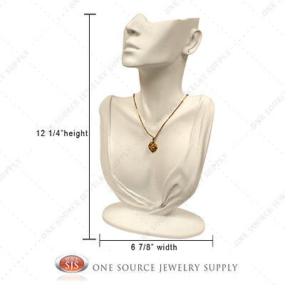 White Earring Necklace Combination Countertop Display Figurine Bust Mannequin