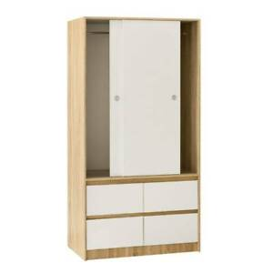 Chipboard 2 Door 4 Drawer Wardrobe Closet Cupboard in Oak & White Sydney City Inner Sydney Preview
