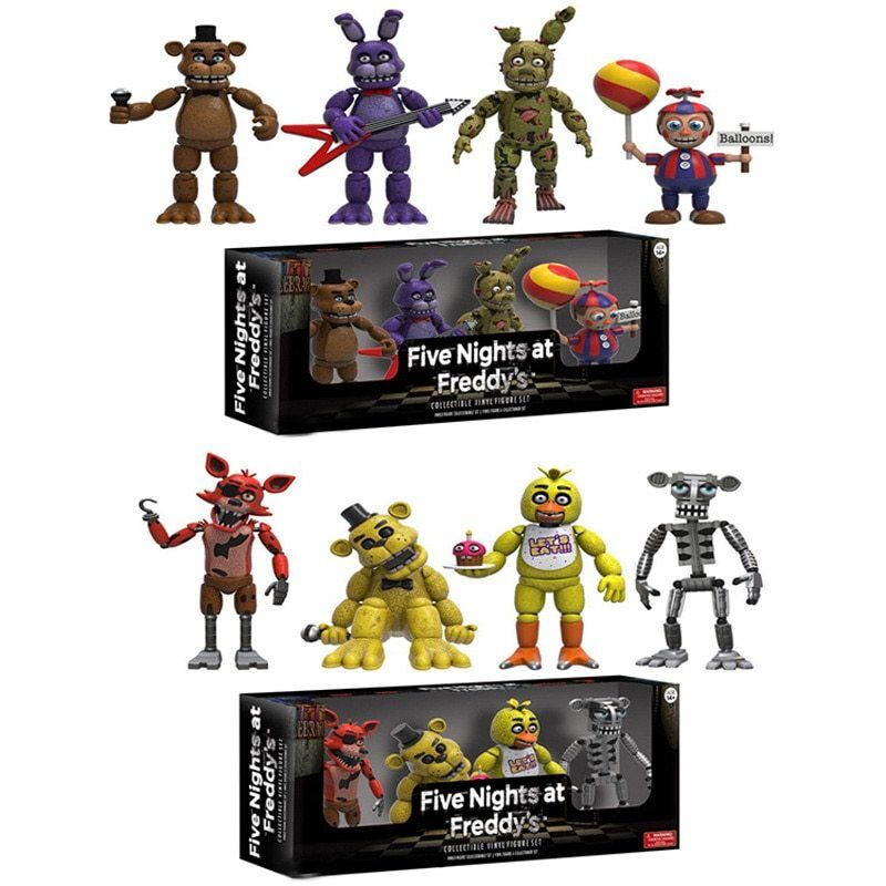 Five Nights at Freddy/'s FNAF Action Bonnie Chica Foxy Bear Figure Set Light Toys