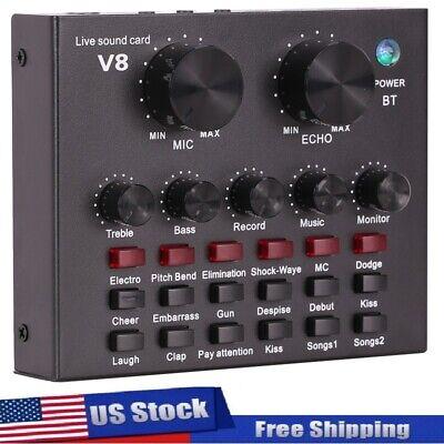 V8 Audio Interface Sound Card USB 6 Sound Modes 12 Voice Effects Live Broadcast