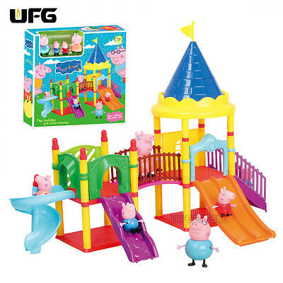 Pink Peppa Pig Playground Children's Slide Play Set With Figures Xmas Kids Gift
