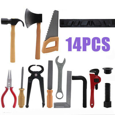 14x Plastic Hammer Screwdriver Wrench Repair Tools Toy Set F
