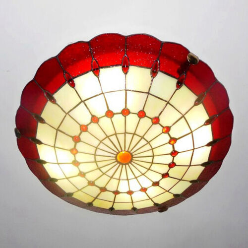 Tiffany Lotus Shaped Red Stained Gl